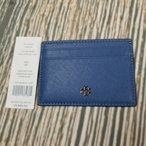 New TORY BURCH blue saffiano leather card case